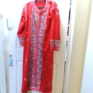 Traditional Moroccan Kaftan & belt red & silver
